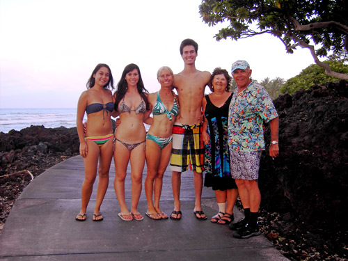 Calley O'Neill with family and yoga students
